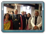 Lord Mayor with priest  Kamleshji and Ila (ben), vice chairlady.